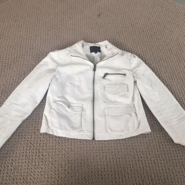 Faux White Leather Jacket