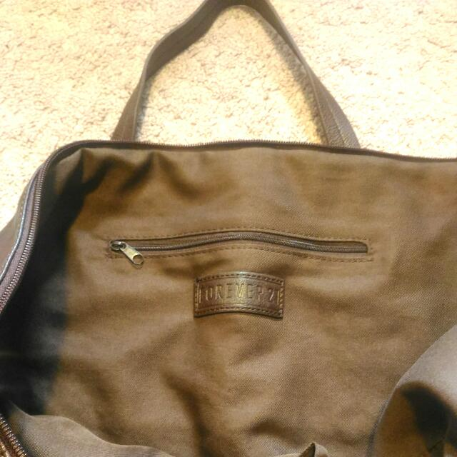 Forever 21 Faux Leather Brown Tote Bag