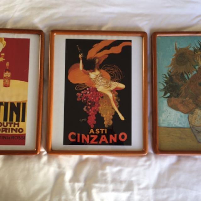 Framed Prints x3 Vintage Style