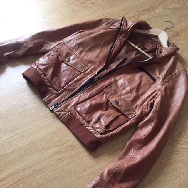 GAP Leather Jacket Size M Turun Harga