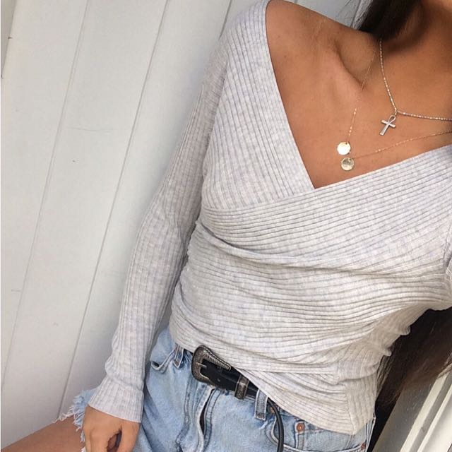 Grey Knit Rib