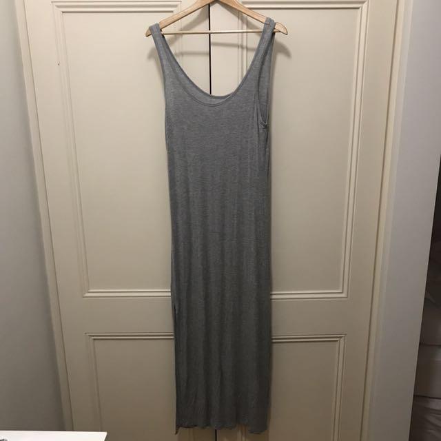 Grey Maxi Dress With Slit