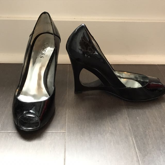 Guess Patent Leather Open Toe Cutout Wedges Size 5.5