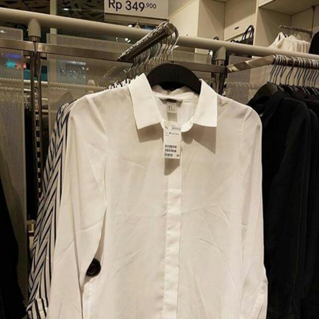 H&M Loongsleeved Satin Blouse White