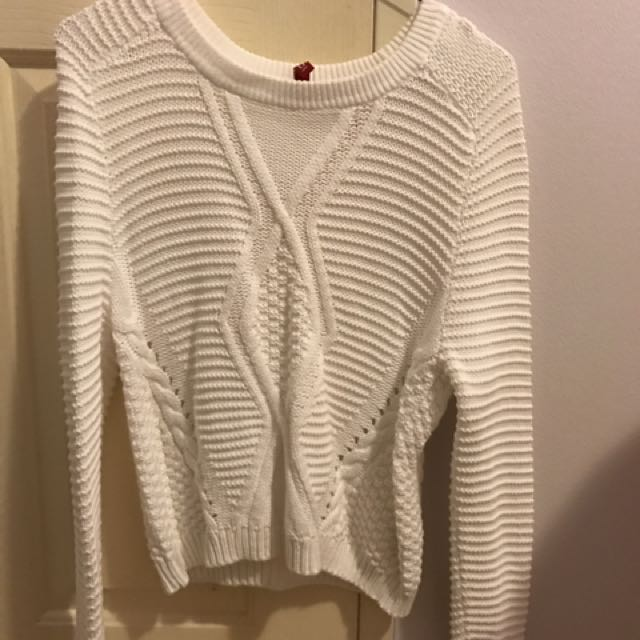 H&M White Crochet Cable Sweater Size S