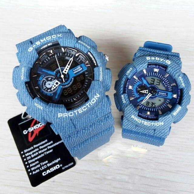 Jam Tangan Casio Gshock Ga-110 & Casio BabyG Ga-110 Denims Dark Blue