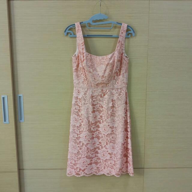 近新JILLSTUART粉色全蕾絲無袖洋裝 2號