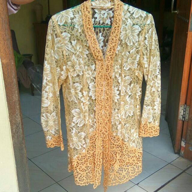 kebaya brokat gold size m