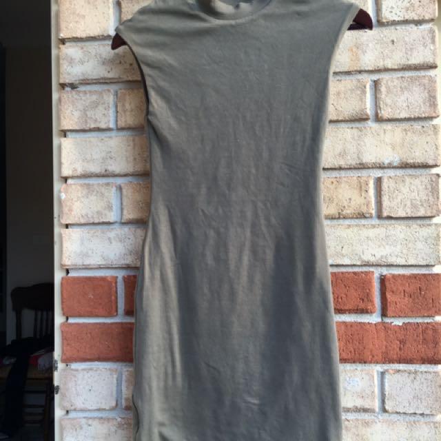 Kookai Khaki Size 1 Turtle Neck Dress With Zippered Sides
