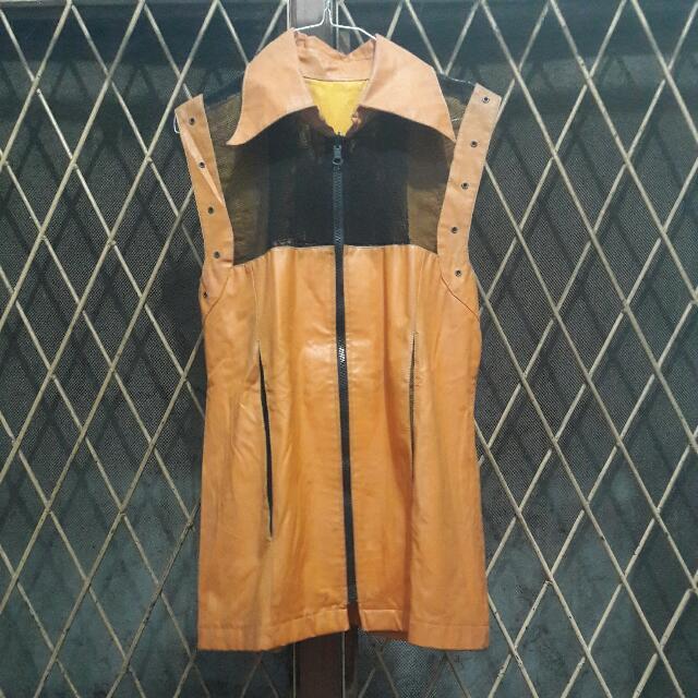 Leather Orange Vest