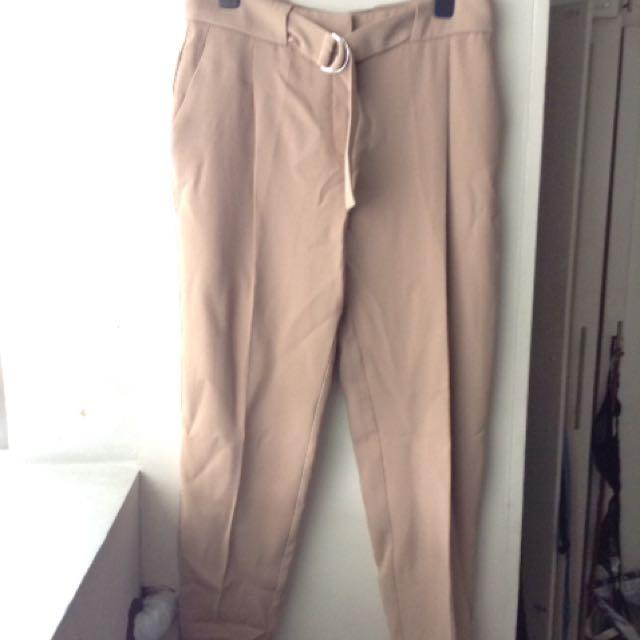 Mango Beige Baggy Trousers
