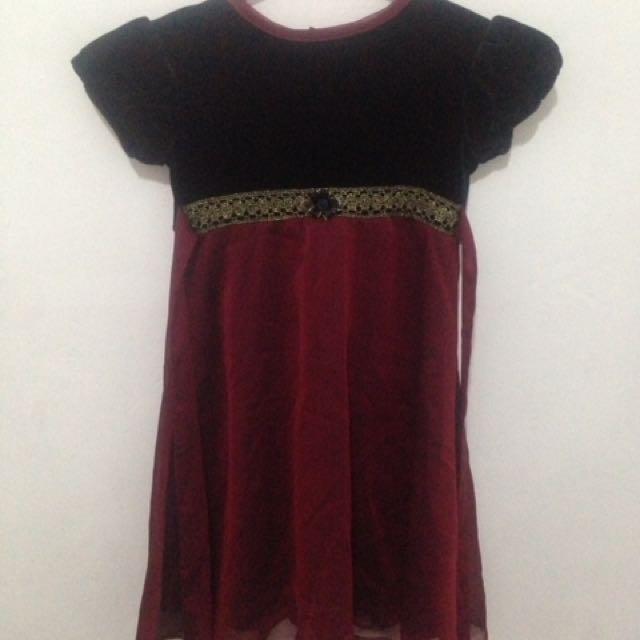 Maroon/black Casual Dress