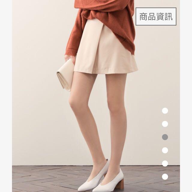 九成新-MeierQ裸色短裙A字裙