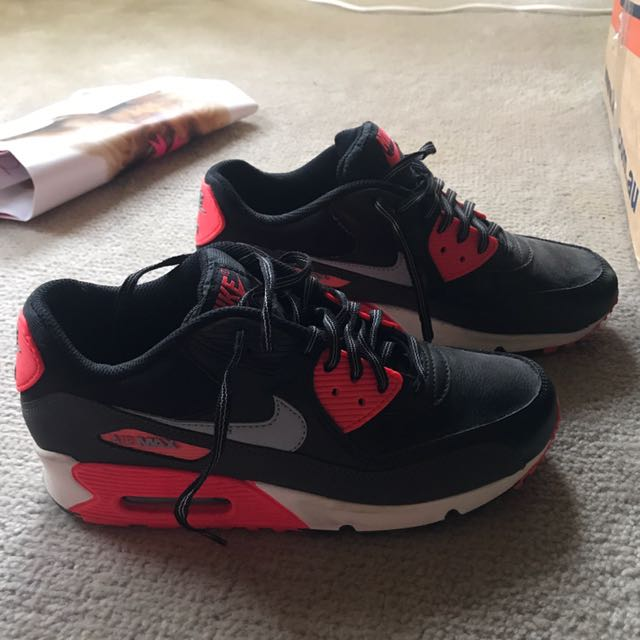 Nike Air Max 90 Black Leather Grey And Red