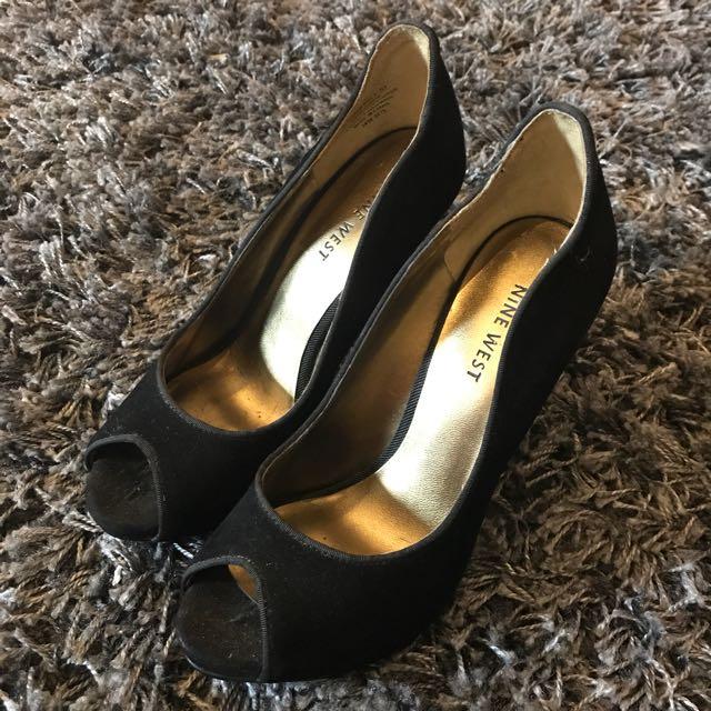 Authentic Nine West Peep Toe Black Suede Shoes