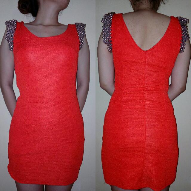 Orange Bodycon Dress 🍎