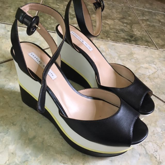 Original Charles & Keith Black Wedges