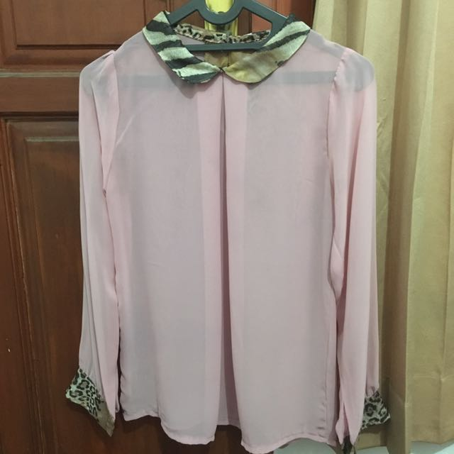 Pink Blouse with Printed Collar