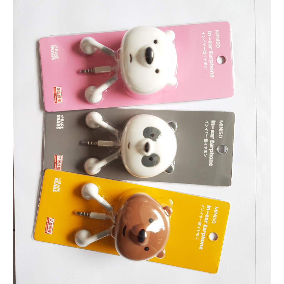 aa4bc157a34 Polar White - Bare Bears Series Earphones + Holder (Original Miniso ...