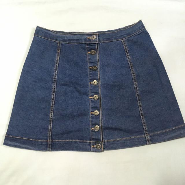 Pop culture Maong skirt buttons