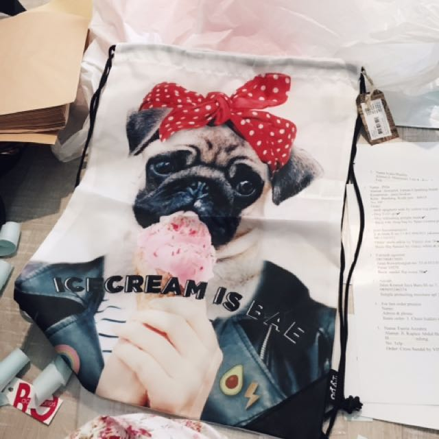 Pug Ice Cream Backpack Drawstring TYPO