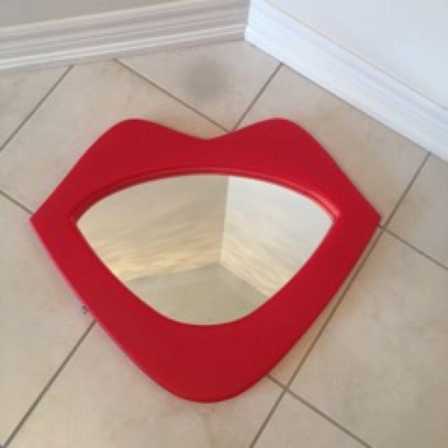 Red Lips Framed Mirror