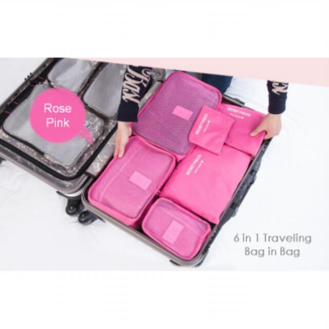 [Set 6in1] Tas Travel Bag in Bag Cosmetic Organizer