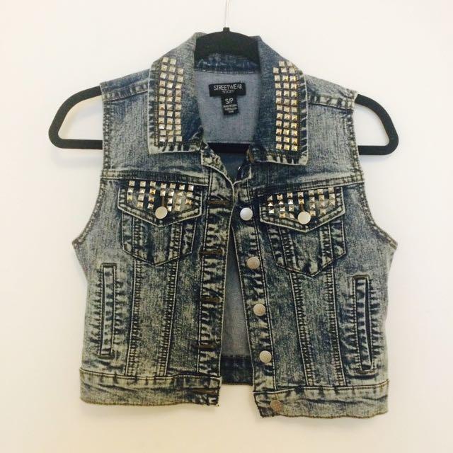Studded Acid Wash Jean Jacket