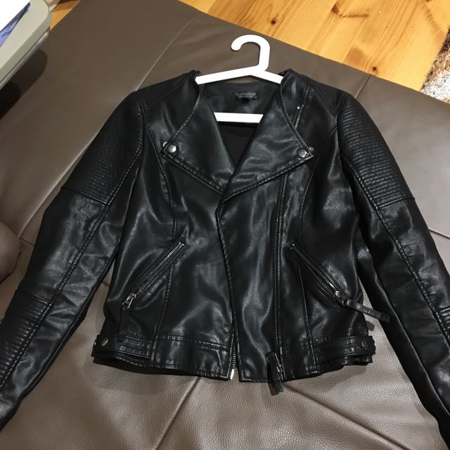 Top shop Faux Leather Jacket In Size UK6