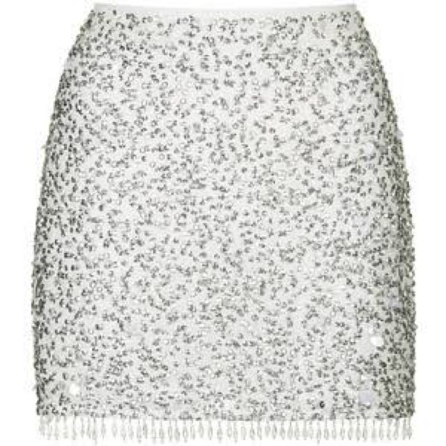Topshop Silver Sequin Skirt