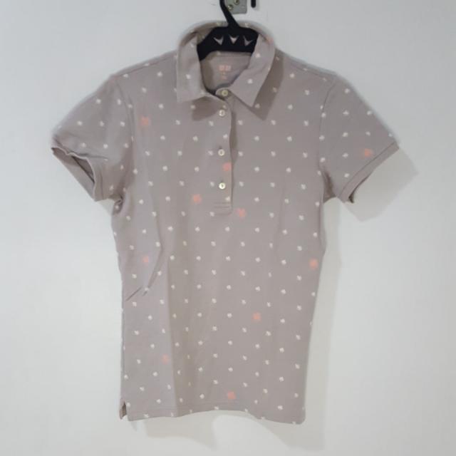 Uniqlo Gray Patterned Polo Shirt