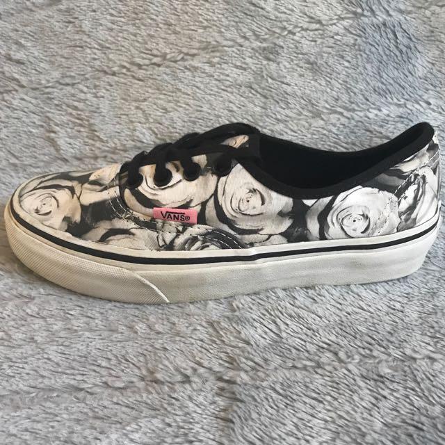 -Vans Womens Shoes, rose pattern-