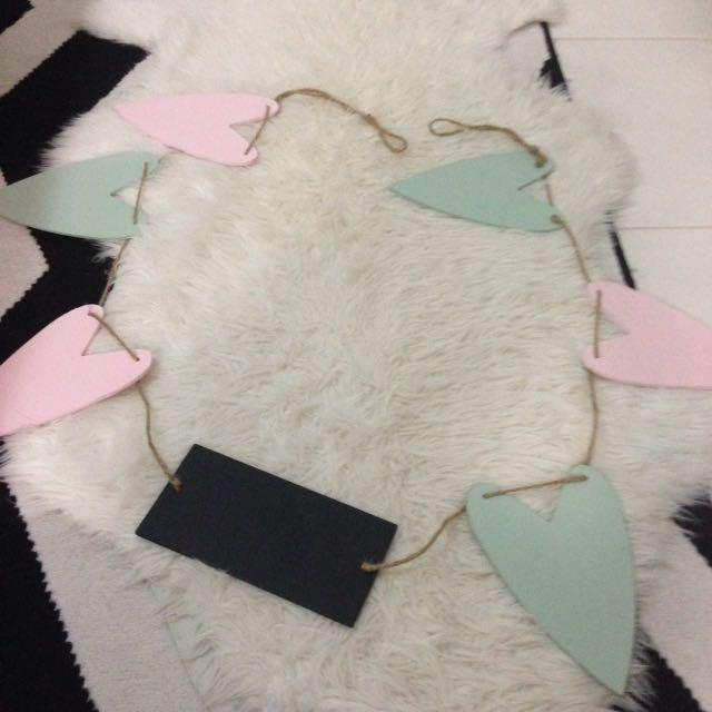 Wedding Decoration Chalk Board Love Hearts Sign Pink Grey Rustic