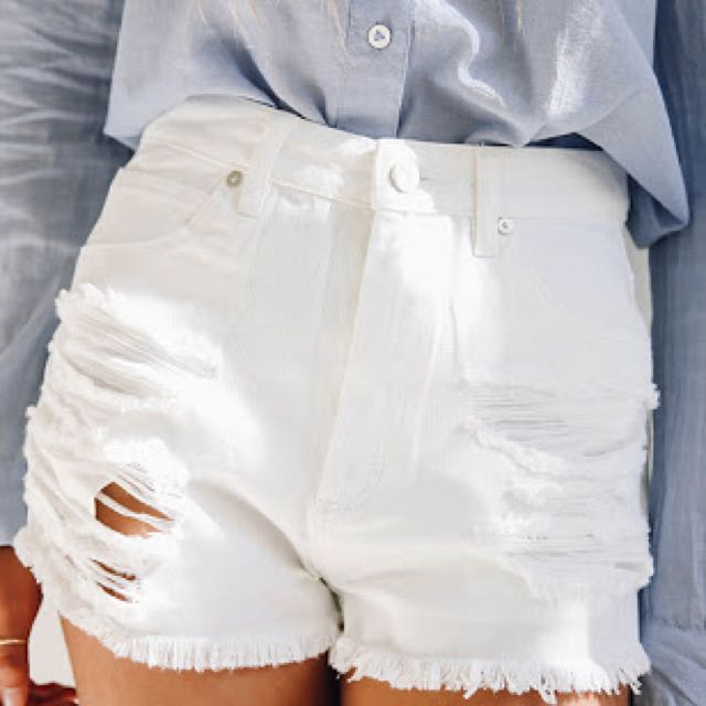 White Abrand Distressed Shorts