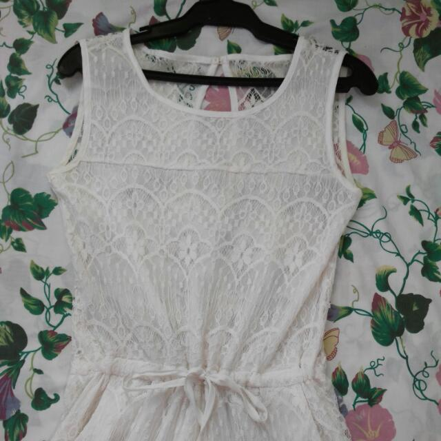 SALE!! White Laced Jumpsuit  See Through Back