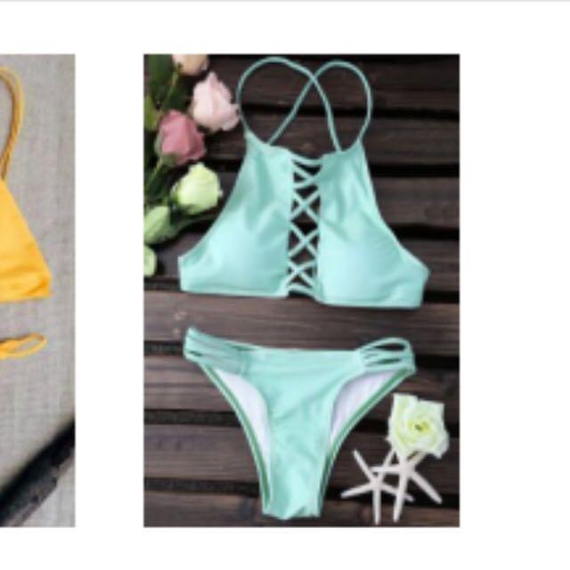 Zaful Mint Backless High-neck Bikini