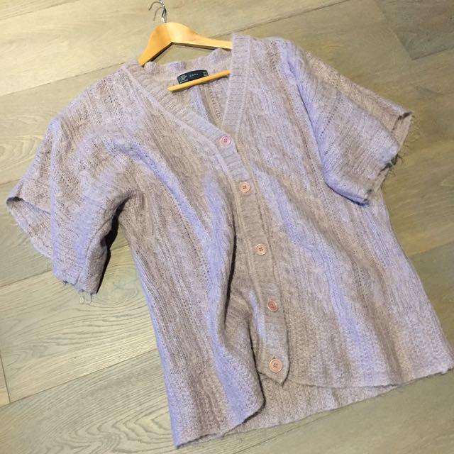 Zara Box Sleeve Lilac Knit Sz.M