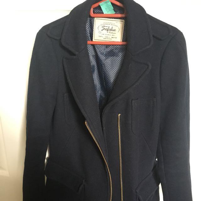 Zara Pea Coat In Navy
