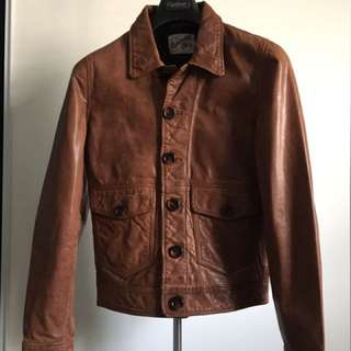 Topman Brown Leather Jacket (x-small)