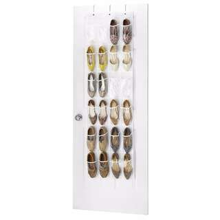 Whitmor 6044-13-CTF White Crystal Collection Over the Door Shoe Organizer, Clear