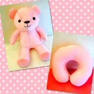 🐳 粉紅甜心小熊兩用頸枕 午睡枕 旅行枕 u型枕 小熊 頸枕 💗小東西拍賣💗