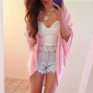 Pink Kimono-style Cardigan
