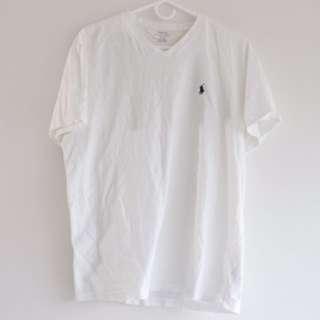 Ralph Lauren Custom Fit V neck T-Shirt (White)
