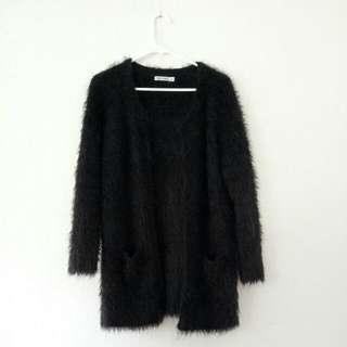 Fluffy Black Coat