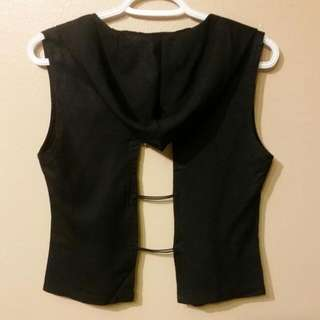 ☆FREE☆Sm Black Hooded Open Back Top