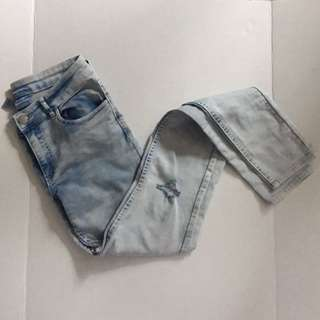 H&M Light Acid Washed Distressed Jeans