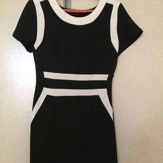 Body Hugging Black And White Dress Accentuate Figure Size M to Large Free Delivery