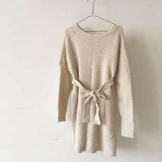 慵懶柔美粗針織長版毛衣洋裝