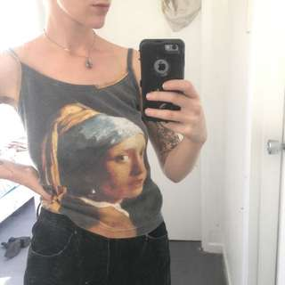 Vintage Girl With The Pearl Earring Singlet