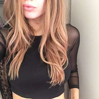 Black Long Sleeve Mesh Crop Top